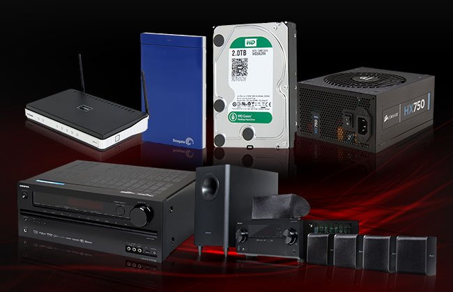 MENU: Seagate 1TB USB 3.0 Portable Hard Drive, Western Digital 2TB Internal Hard Drive, CORSAIR 750W Power Supply, Pioneer HTP-072 5.1-Channel Home Theater Speaker System, ONKYO HT-RC560 7.2-Channel Receiver, D-Link Wireless N300 Router