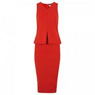 SPORTMAX - Zenzero peplum effect stretch crepe dress
