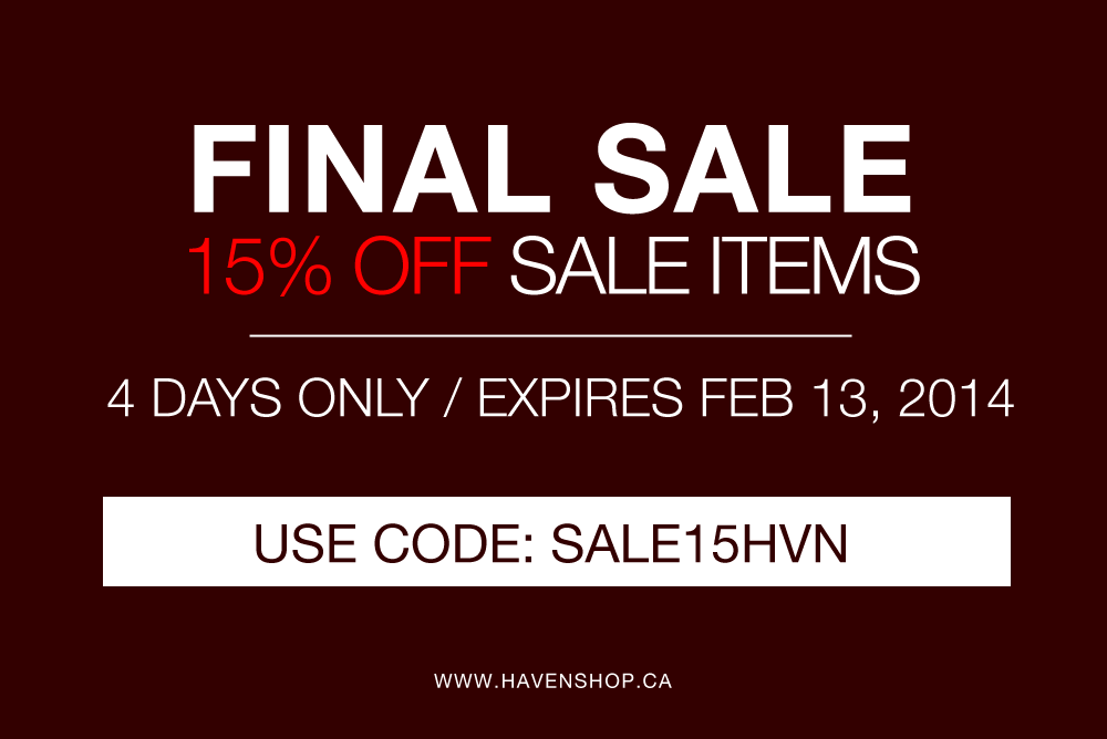 4 Days Only | 15% OFF Sale Items | Promocode SALE15HVN