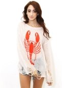 Wildfox White Label Lobster Lennon Sweater in Vintage Lace