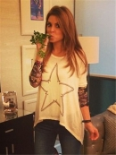 Lauren Moshi Deb Nail Star Contrast Cuff Asymmetrical Sweater in Natural and Camo as seen on Maria Menounos