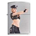 Zippo 0244 Classic Brushed Chrome Sexy Police Woman Windproof Pocket Lighter