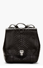 PROENZA SCHOULER Black Etched Leather Python-Pattern Backpack for women
