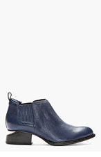 ALEXANDER WANG Indigo Leather Cut-Out Heel Kori Ankle Boots for women