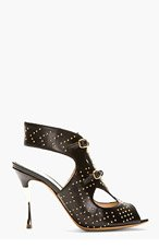 NICHOLAS KIRKWOOD Black leater cut-out Studded Platino heels for women