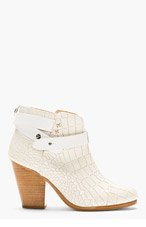 RAG & BONE White Croc-Embossed Leather Harrow Ankle Boots for women