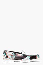 MAISON MARTIN MARGIELA Black Leather Floral Print Loafers for women