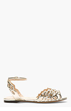 CHARLOTTE OLYMPIA Silver matllaic Coraline cut-out sandals for women