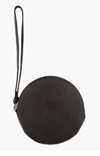 MM6 MAISON MARTIN MARGIELA Black Leather Circular Wristlet Pouch for women