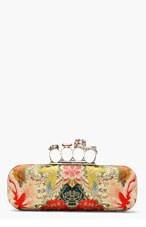 ALEXANDER MCQUEEN Red Multicolor Printed Silk Knucklebox clutch for women