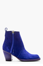 ACNE STUDIOS Indigo Blue Cuban-Heel Suede Ankle Boot for women
