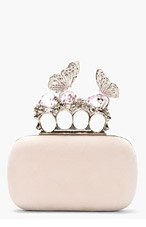 ALEXANDER MCQUEEN Pink Suede Butterfly & Crystal Knucklebox Clutch for women