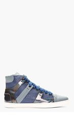LANVIN Blue Snakeskin Paneled High-top Sneakers for women