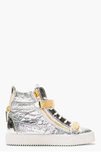 GIUSEPPE ZANOTTI Silver Foil Crinkled Leather High-Top Sneakers for women