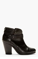 RAG & BONE Black Croc-Embossed Leather Harrow Ankle Boots for women