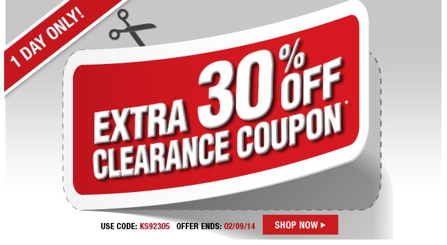 1 day only! extra 30 percent off clearance coupon - use code: KS92305 - offer ends: 02/09/14 - shop now