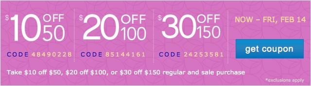 Extra $10 off $50, $20 off $100 and $30 off $150. Get coupon.
