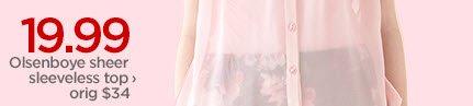 19.99 Olsenboye sheer sleeveless top  › orig $34