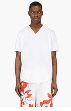 3.1 PHILLIP LIM White V-Neck Shirttail T-Shirt for men