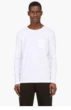 T BY ALEXANDER WANG White Classic Pocket Crewneck T-Shirt for men