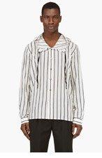 ANN DEMEULEMEESTER Ecru Sheer Striped Hooded Button Down Shirt for men