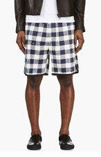 3.1 PHILLIP LIM Ivory & Navy Check Shorts for men