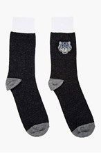 KENZO Charcoal embroidered TIGER SOCKS for men