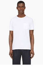 T BY ALEXANDER WANG White semi-sheer pocket t-shirt for men