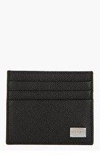 DOLCE & GABBANA Black Pebbled Leather Card Holder for men