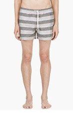 THOM BROWNE Grey Striped Anchor print Swim Shorts for men