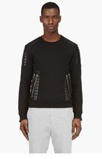 BALMAIN Black Quilted Leather Sweater for men