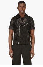 BALMAIN Black Short Sleeve Embroidered Biker Jacket for men