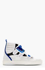 RAF SIMONS White & Blue Etched Leather High-Top Sneakers for men