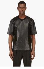 3.1 PHILLIP LIM Black Leather Tropical Graphic T-Shirt for men