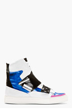 RAF SIMONS Blue & White Etched Leather Hi-Top Sneakers for men