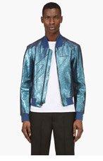 3.1 PHILLIP LIM Blue Metallic Leather Lightning Bomber Jacket for men