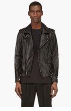 3.1 PHILLIP LIM BLACK Leather Belted BIKER Jacket for men