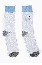 KENZO Grey & Blue embroidered TIGER SOCKS for men