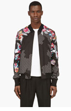 3.1 PHILLIP LIM Black EMBROIDERED FLORAL BOMBER Jacket for men