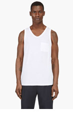T BY ALEXANDER WANG White Classic Pocket Tank Top for men