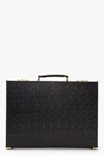 THOM BROWNE Black Pebbled Leather Hard Briefcase for men