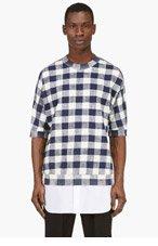 3.1 PHILLIP LIM Ivory & Navy Check Poplin Layer Sweater for men