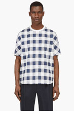 3.1 PHILLIP LIM Ivory & Navy Check T-Shirt for men