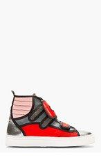 RAF SIMONS Red & Grey High-Top Sneakers for men