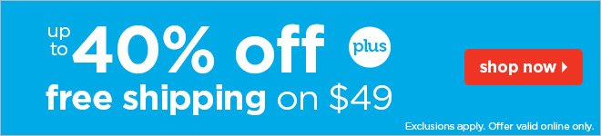 up to 40% off plus free shipping on $49