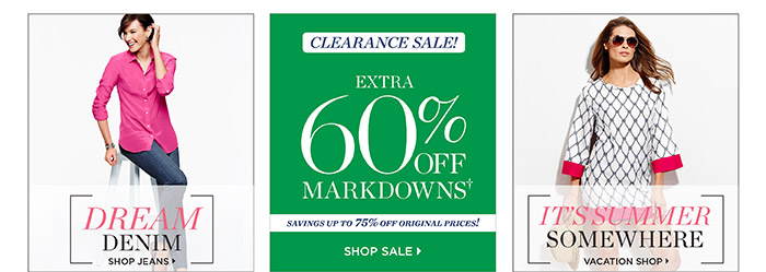 Dream Denim. Shop Jeans. Clearance Sale. Extra 60% off Markdowns. Savings up to 75% off Original Prices! Shop Sale. It's summer somewhere. Vacation Shop.