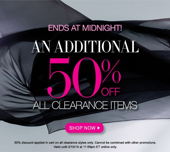 Ends at Midnight: An Additional 50% Off All Clearance Items
