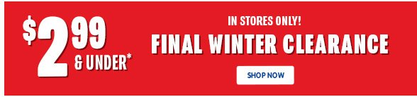 $2.99 & under Final Winter Clearance!