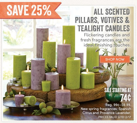 All Scented Pillars, Votives & Tealight Candles   Save 25%