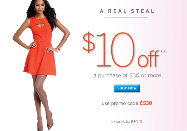 $10 Off a purchase of $30 or more with promo code C530